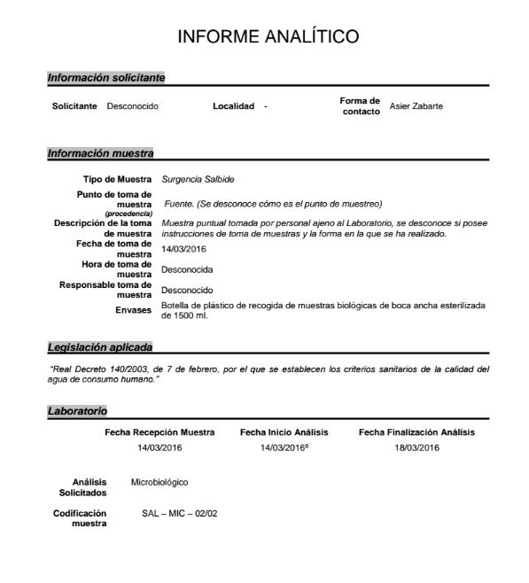 Análisis microbiológico realizado a la surgencia de Salbide en Zarautz a petición de Oier Illarramendi en el PROZarautz. Página 1.