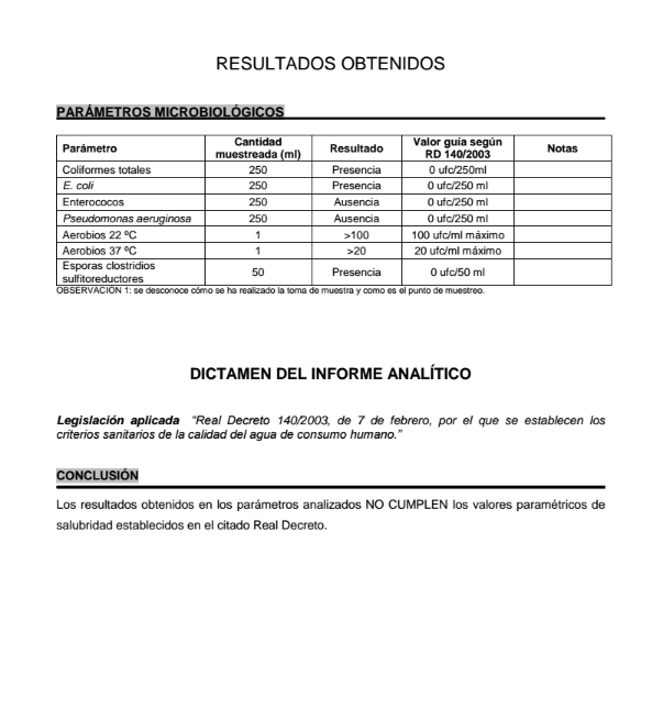 Análisis microbiológico realizado a la surgencia de JaiTxiki en Zarautz a petición de Oier Illarramendi en el PROZarautz. Página 2.