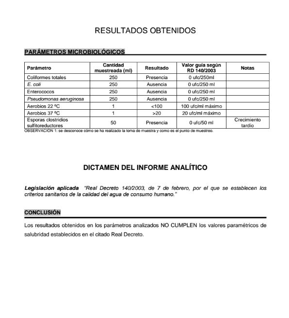 Análisis microbiológico realizado a la surgencia de Salbide en Zarautz a petición de Oier Illarramendi en el PROZarautz. Página 2.