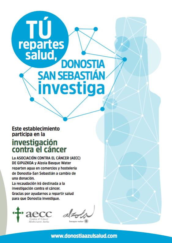 El objetivo de Alzola Basque Water y la Asociación Española Contra el Cáncer es lograr financiar 1 o 2 becas para que Donostia-San Sebastián investigue.