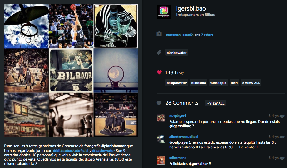 Concurso #planBBwater en Instagram de la mano de @igersbilbao con Alzola Basque Water