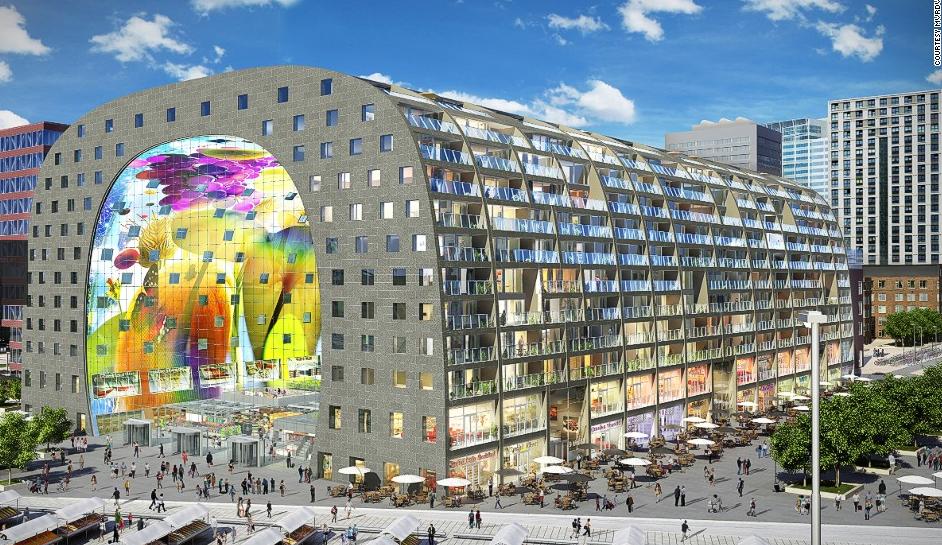 Mercado de Rotterdam donde se encuentra ubicado el restaurante BasQ