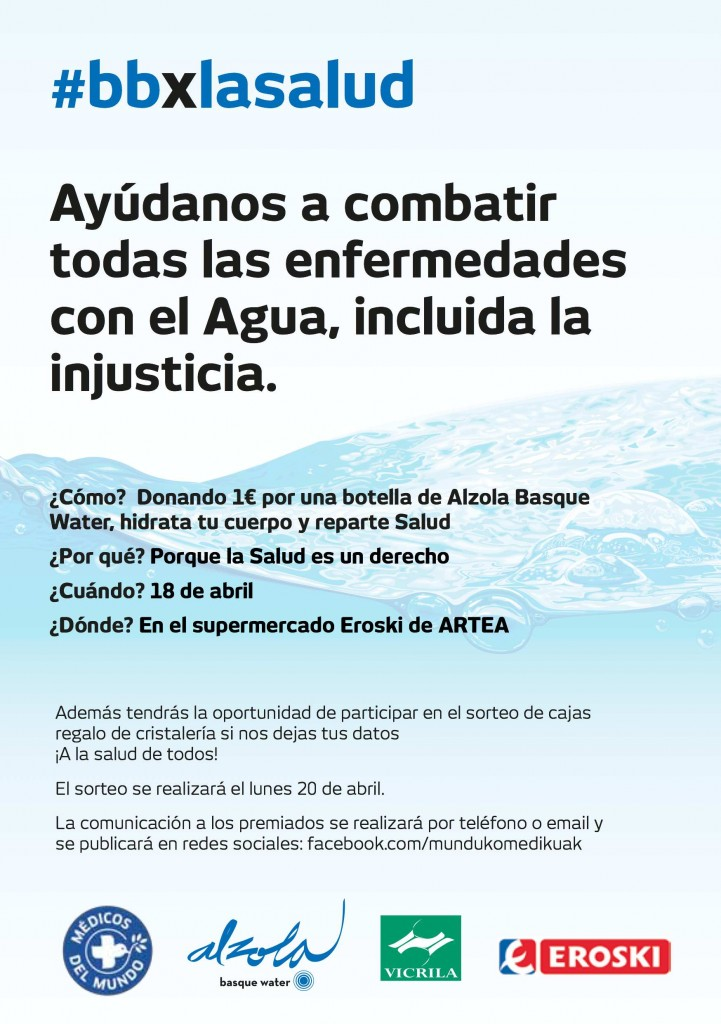 ¿Cómo? Donando 1€ por una botella de Agua Mineral Alzola Basque Water