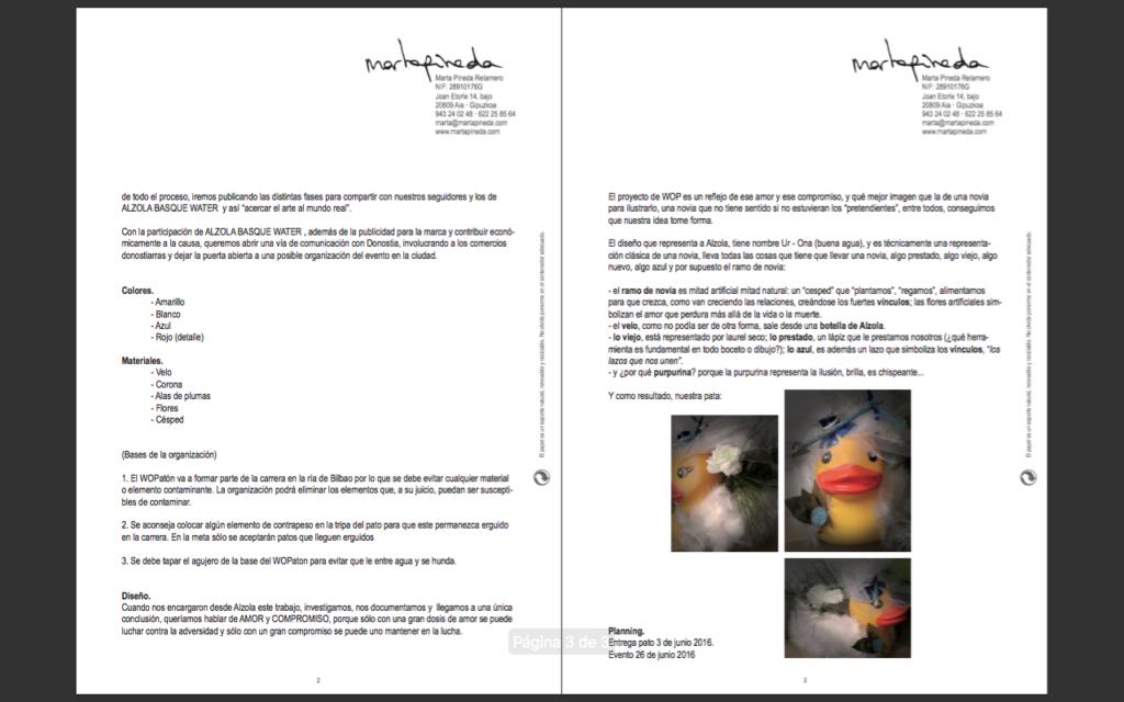 Brief del proyecto para la creación de WOPatona UrOna y su participación en Estropatada 2016, Bilbao 2/2