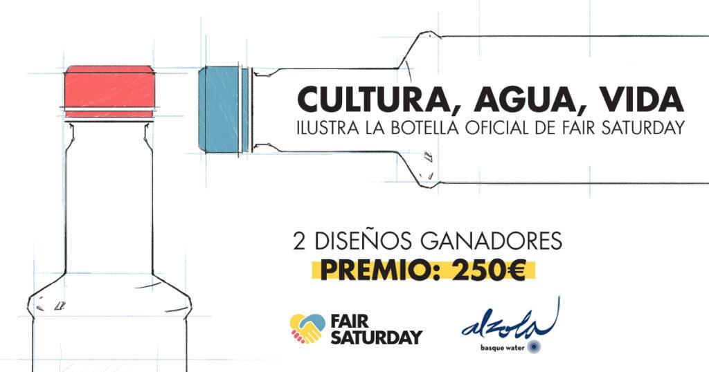 Diseina ezazu Fair Saturday 2016 ur botilaren etiqueta, Alzola Basque Wateren eskutik