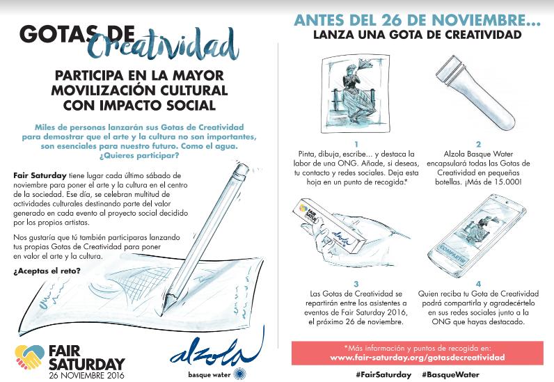 Gotas de Creatividad FairSaturday Alzola Basque Water ¿Cómo participar?