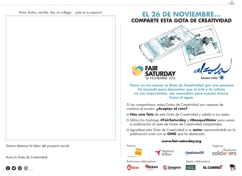 Gotas de Creatividad FairSaturday Alzola Basque Water Comparte tu Gota de Creatividad