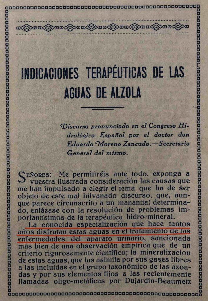 Indicaciones Terapéuticas de las Aguas de Alzola