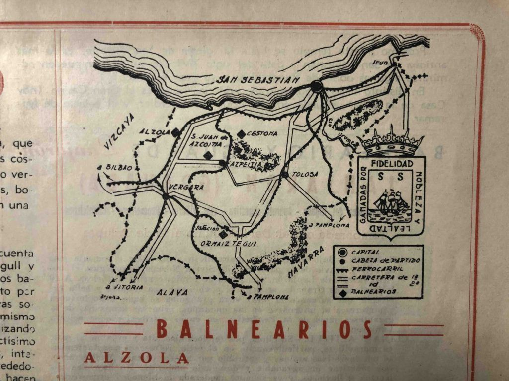 Situación de Alzola en la Guía de Establecimientos Balnearios de Aguas Minero Medicinales de España de 1958, donde se clasifican como Aguas Bicarbonatadas