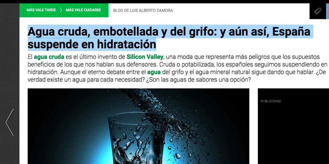 (Español) Agua Cruda y Agua Potable frente al Agua Mineral Natural y una alimentación sana y saludable.