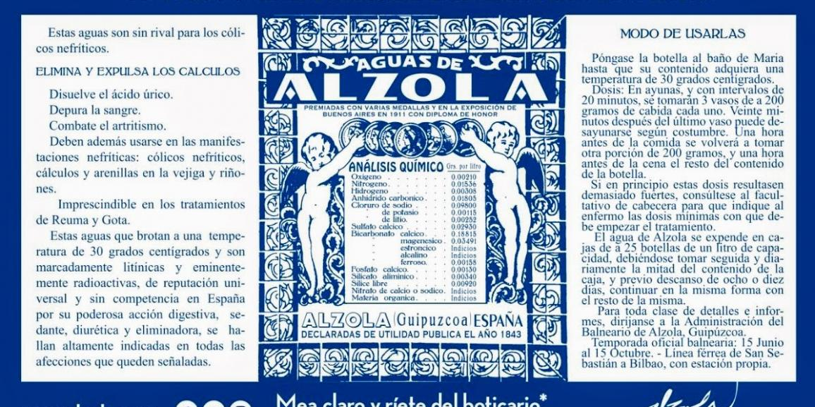 "Classic Medical Prescription from the ""Balneario"" of Alzola"